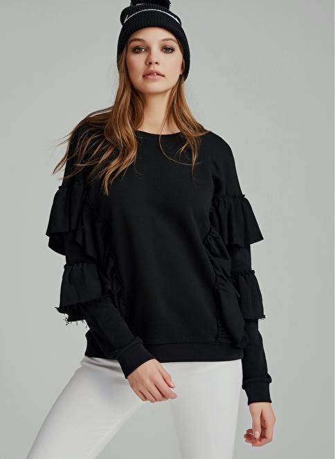 Agenda Kolları Volanlı Oversize Sweatshirt Siyah